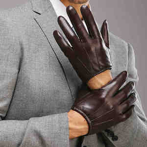 Image 3 - Genuine Leather Men Gloves Fashion Casual Sheepskin Glove Black Brown Five Fingers Short Style Male Driving Gloves M017PQ2