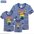 Family look Summer Cartoon spongebob Short-sleeve Navy Striped Tshirt matching clothes family For Mother Daughter And Father Son