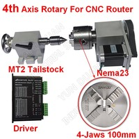 4 Axis Rotation A Axis Extend Rotary 4 Jaw 100mm Chuck&driver & Nema23 Motor &Tailstock for Wood Metal Plastic Milling Router