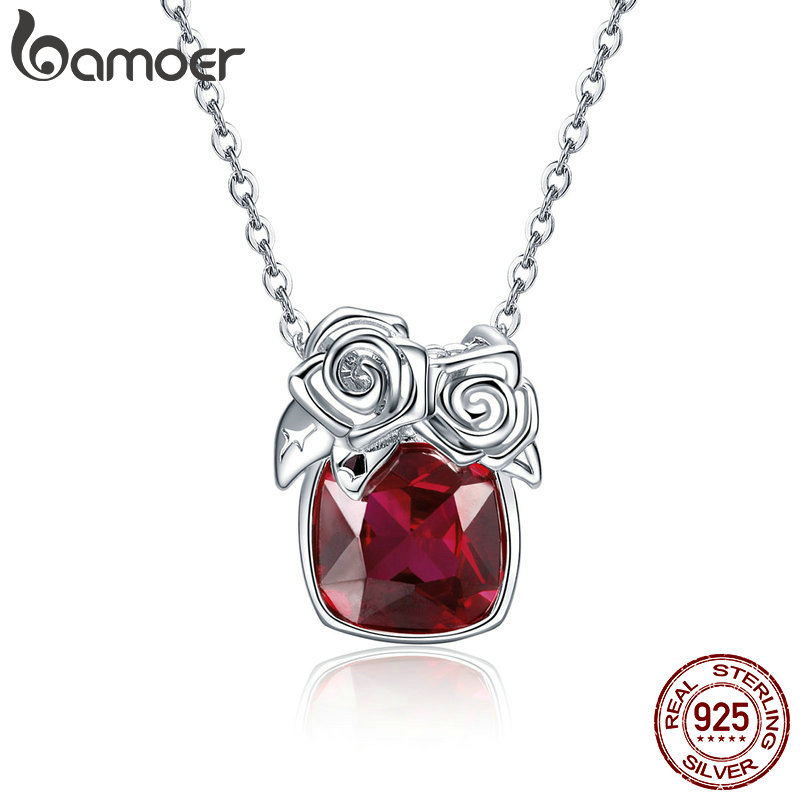 BAMOER Romantic 925 Sterling Silver Rose Flower Pendant Necklaces for Women Valentine Gift Red CZ Sterling Silver Jewelry BSN003