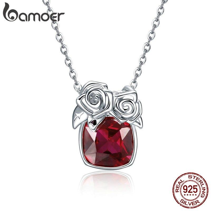 Bamoer Romantique 925 Sterling Argent Rose Fleur Pendentif Colliers