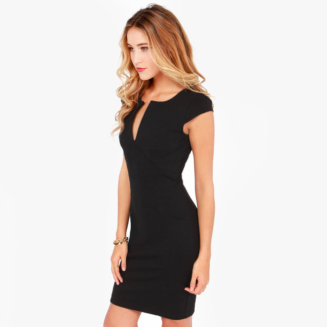 Elegant V Neck Sleeveless Pencil Dress