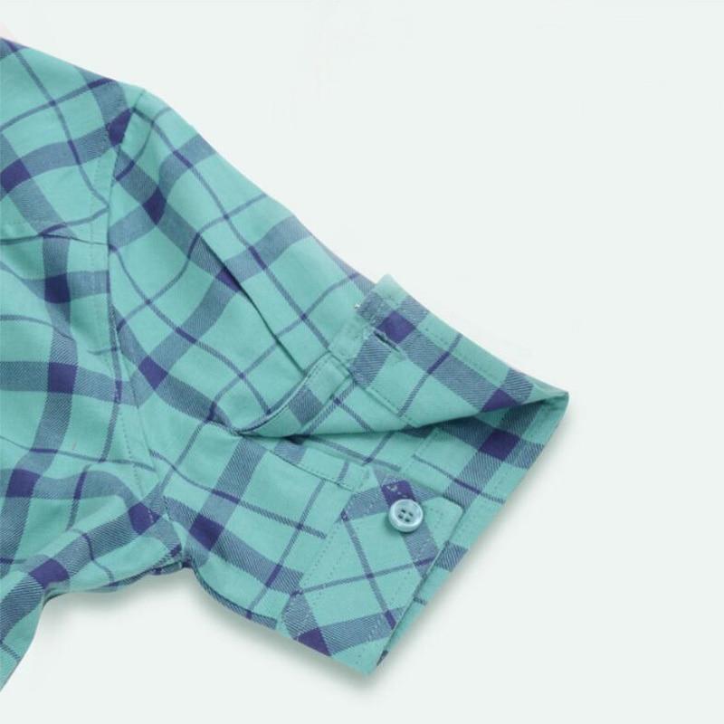 Yaz Pamuk Ekose Kadın Gömlek Kısa Kollu Kadın Bluzlar Tops Kolej - Bayan Giyimi - Fotoğraf 5