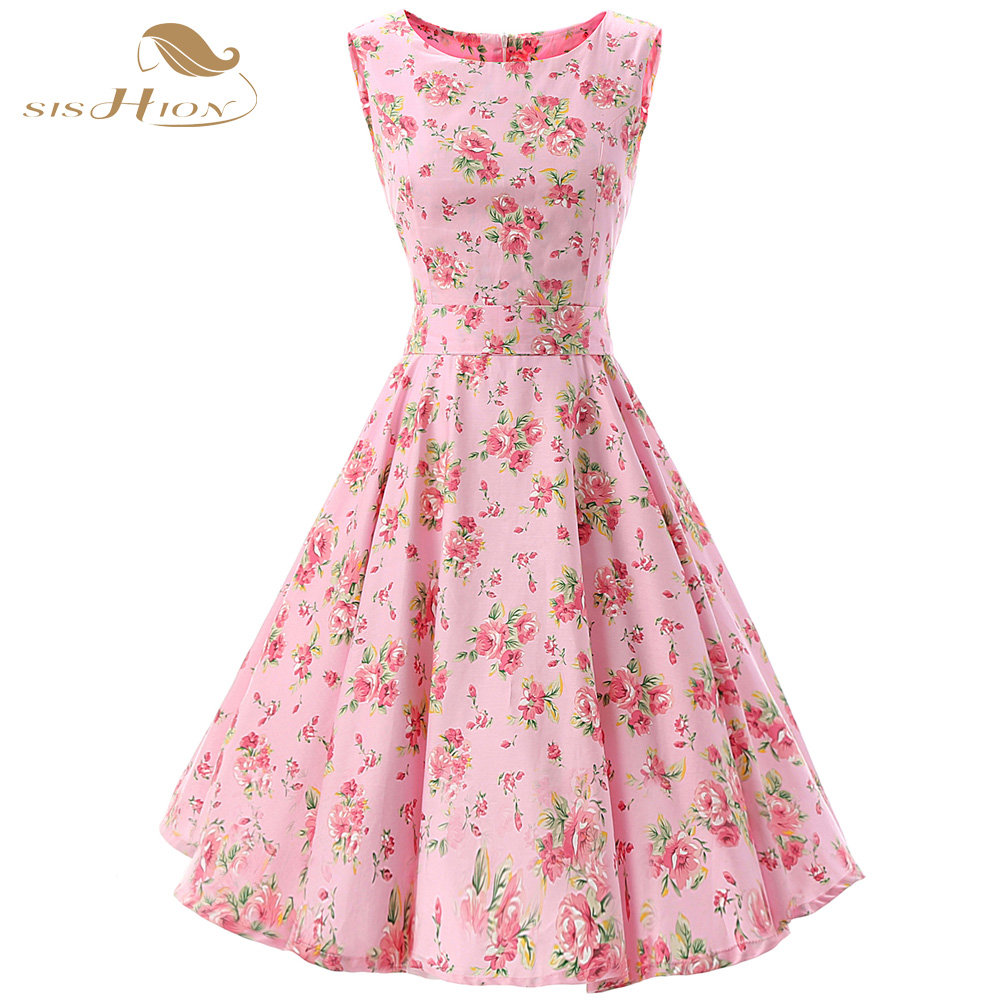 Sishion Elegant Pink Floral Dress Sleeveless Tank Cotton