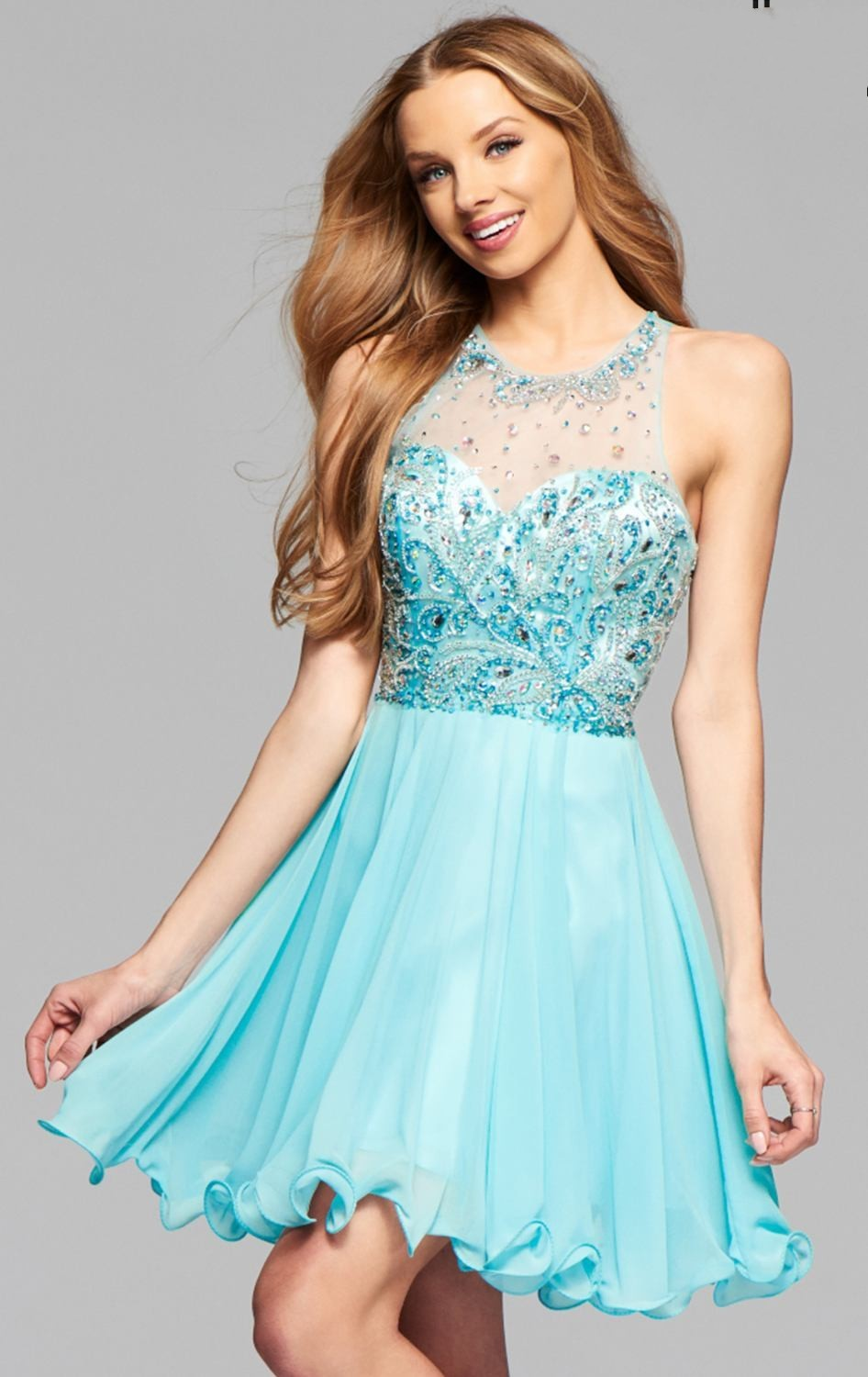 New Sky Blue Homecoming Dresses Short Prom Dresses Beaded High School University Party Cocktail