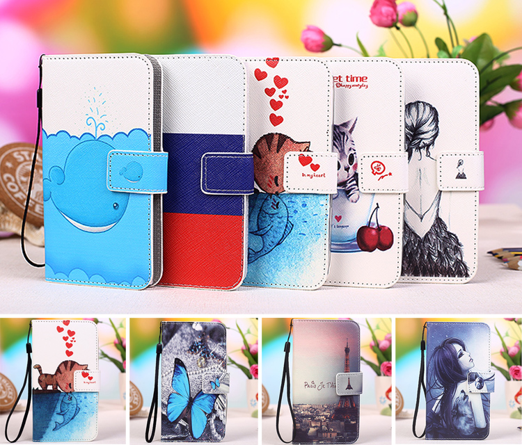 "12 Colors Cartoon Printing Flip PU Leather Phone Wallet Case For Uhans U200 5"" Phone cover coque capa +Tracking"