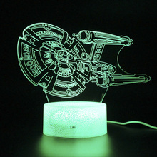 Kids Gifts Airship 3d Lamp Millennium Falcon Light Remote Control Table Light Party Decoration Night Light Led Projection Lamp цена и фото
