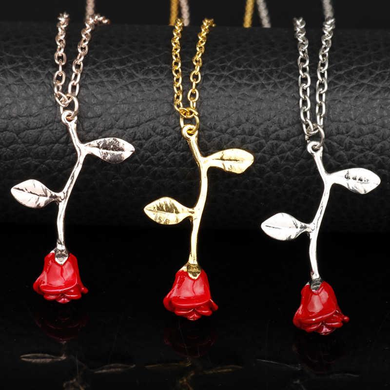 دونغ شنغ الجمال والوحش مجوهرات ثلاثية الأبعاد روز قلادة حلية مخصصة للحفلات قلادة النهائي زهرة الورد النساء فتاة هدايا عيد الميلاد