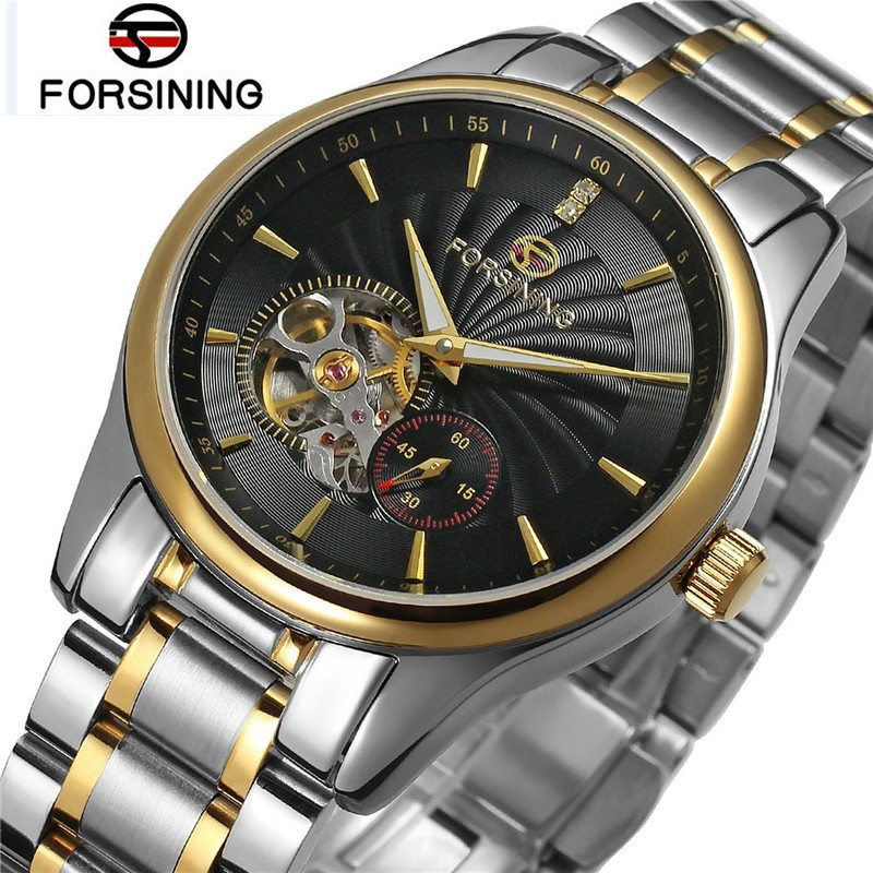 New 2017 Forsining Luxury Watch Men Men's Hollow Out Auto Mechanical Watches Wristwatch Gift Box Free Ship  black out watch box