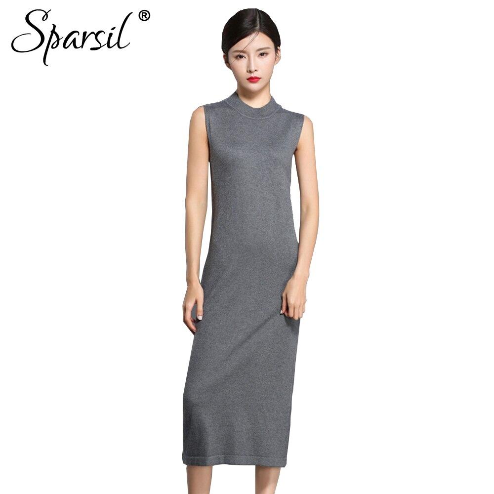 Sparsil Для женщин осень вязаные шерстяные платья без рукавов с круглым вырезом Танк Весна Платья-свитеры женские до середины икры Длинные Vestido