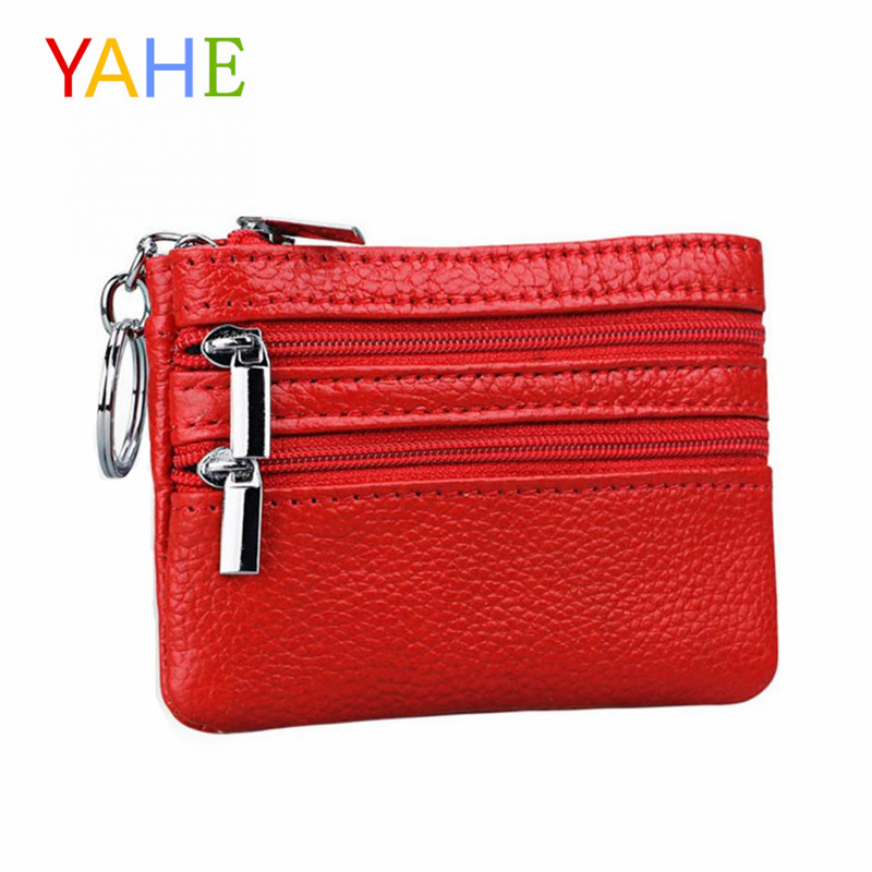 YaHe Women Mini Coin Wallets Genuine Leather Small Coin Purse with Keychain Female Zipper Bags Card Change Pouch for Women 2018