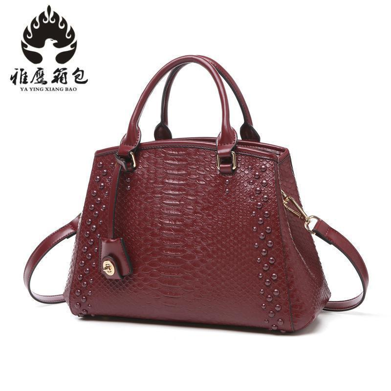 2018 New Women Bag Genuine Leather Brands Quality Cowhide Alligator Grain Embossing Fashion Women Handbags Shoulder Big Bag