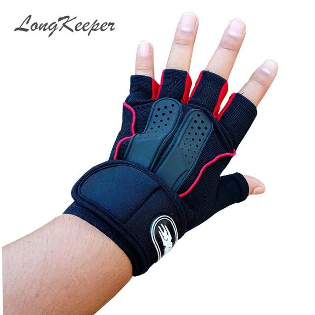Longkeeper Classic Fingerless Gloves Women Men Letter Half Finger