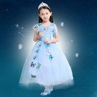 Beautiful Kids Halloween Costume Cosplay Costume Blue Princess Dress Girls Children S Day Performance Disfraces Butterfly