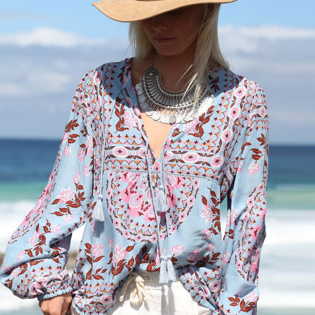 9517a5934a5 Botanic Tropical Floral Print Summer Blouses V Neck Loose Long Sleeve Gypsy  Ethnic Boho Chic Blusas