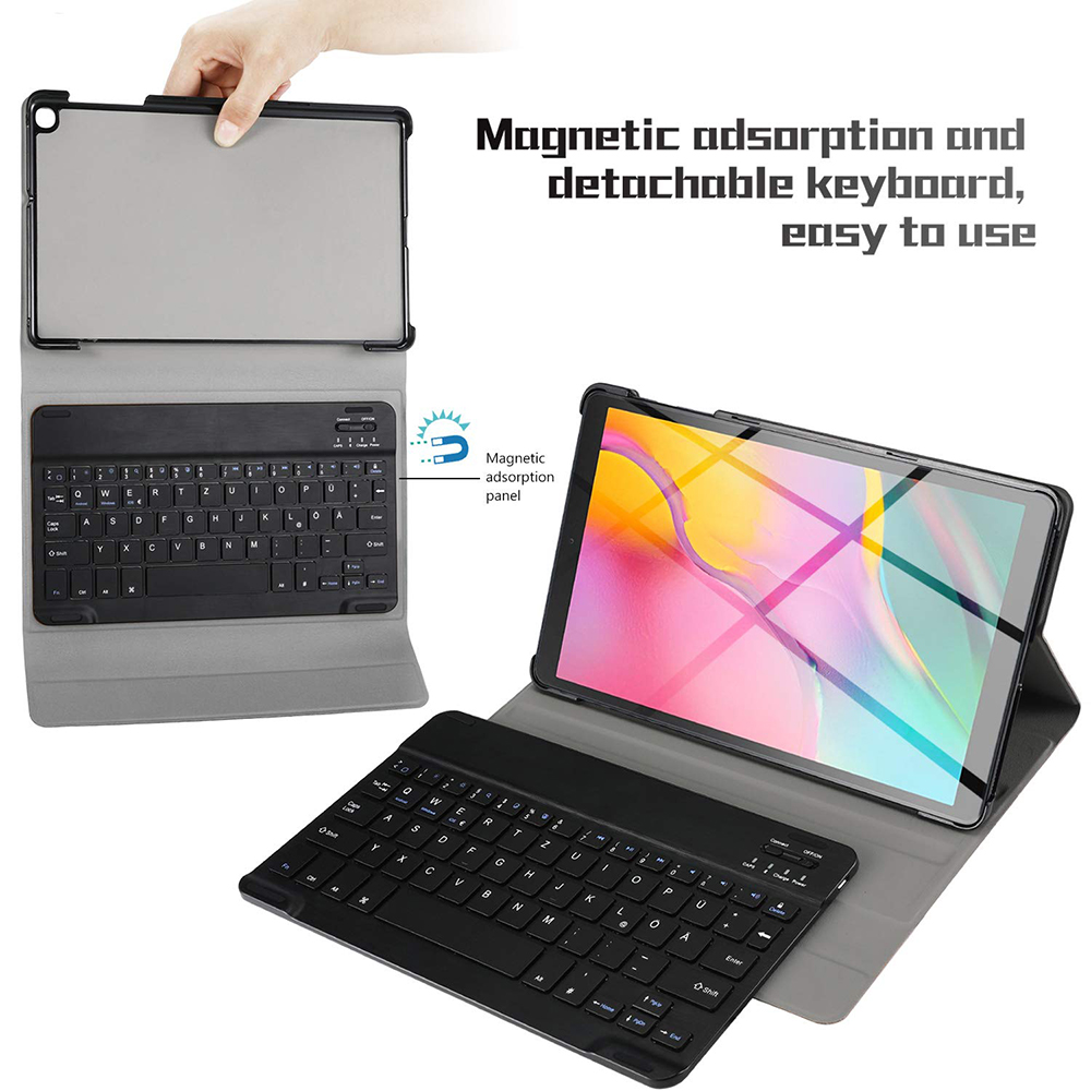Anti-Fall Magnetic Bluetooth LED Infrared Letter Chocolate Keyboard Leather Protective Case Samsung T510 T515 Tablet Kickstand