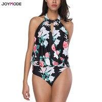 JOYMODE Sexy One Piece Swimsuit 2018 Push Up Swimwear Women Printed Patchwork Ruched Beachwear Bathing Suit