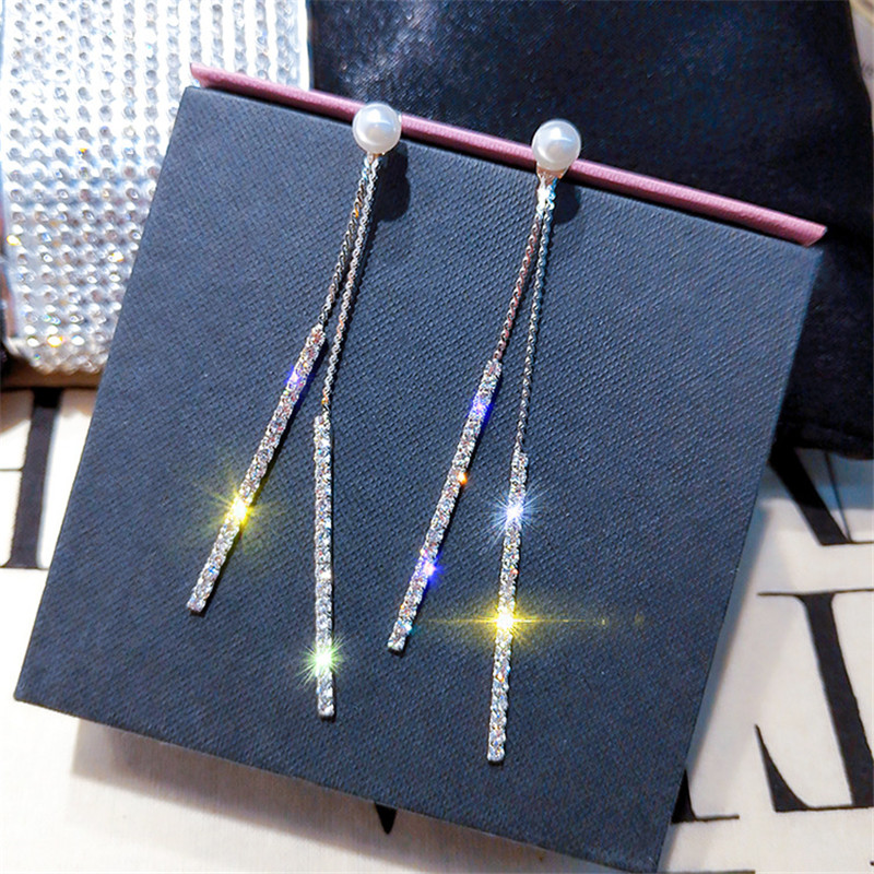 FYUAN Long Tassel Crystal Rhinestone Earring Exquisite Pearl Silver Color Dangle Earrings for Women Wedding Bride Jewelry Gifts