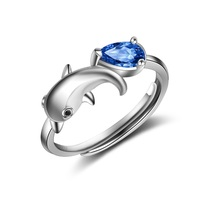 Women Stylish Adjustable Ring Blue Solid 925 Sterling Silver Jewelry Prong Setting Solitaire Waterdrop Cut Cubic