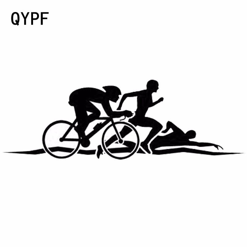 QYPF 15.5 см*5.3 см творческой личности Триатлон смешной автомобиль тела наклейки С2-0051