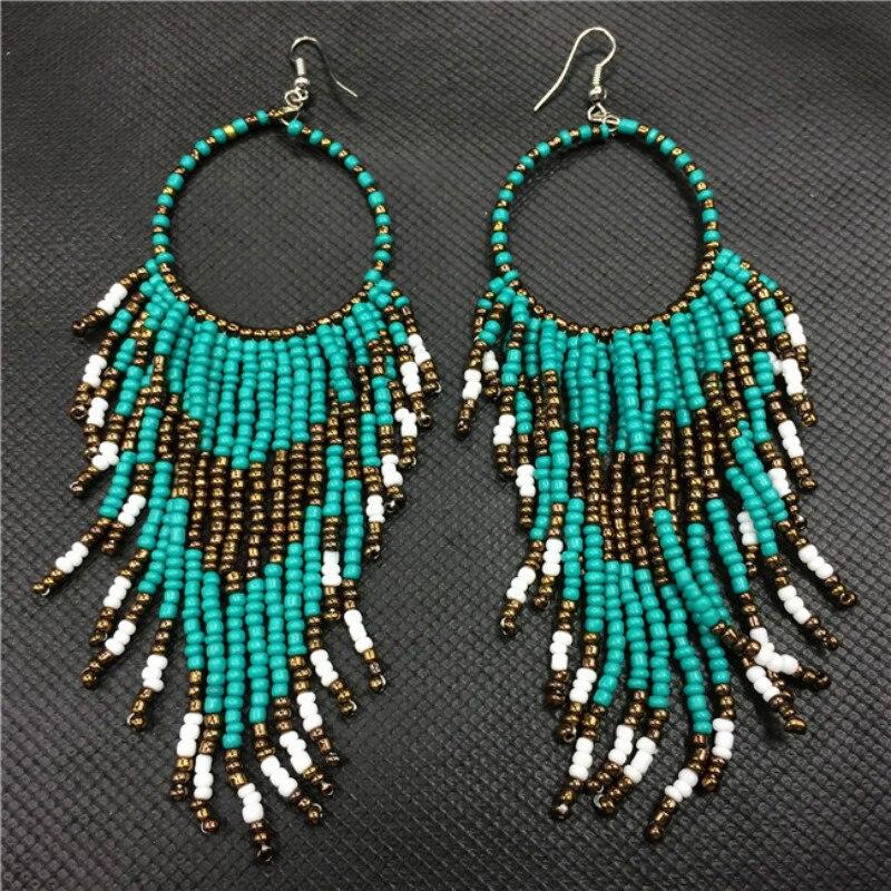 2017 New Ethnic Bohemian Earrings Boho Beads Long Earrings Peacock ...