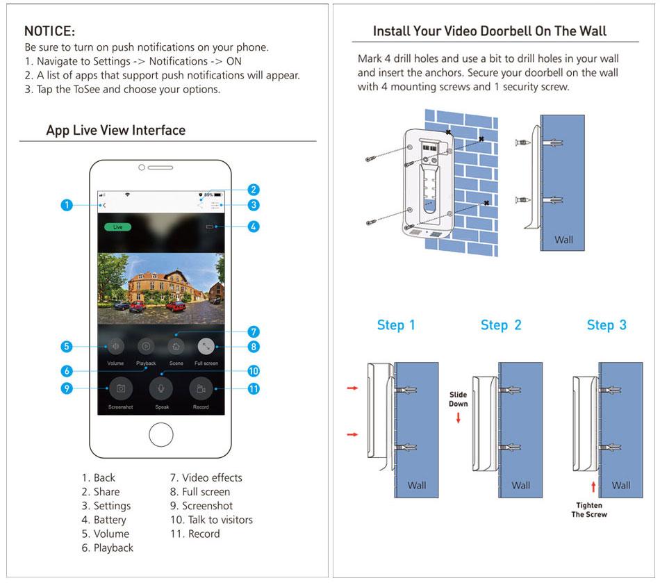 ZWN Smart Wireless Wifi Video Doorbell Intercom Remote Record Home Security Monitoring