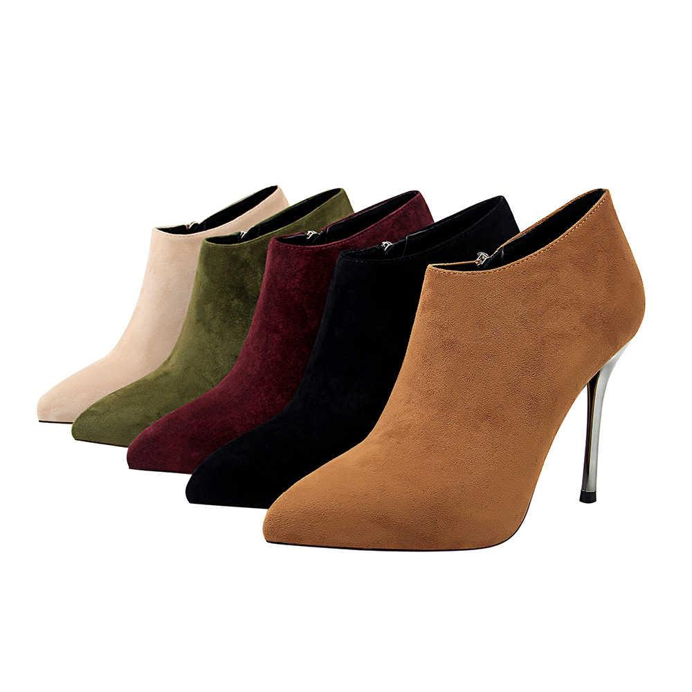 Plardin חורף גבירותיי סקסי חתונה מסיבת רכיבה מגפי נעלי נשים זמש הבוהן מחודדת סקסי רוכסן עקבים גבוהים קרסול מגפי נעליים