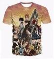 Clássico fada Anime cauda camisetas Natsu Dragneel / Lucy Heartphilia / Erza Scarlet personagens 3D T shirt dos homens Casual tee camisetas