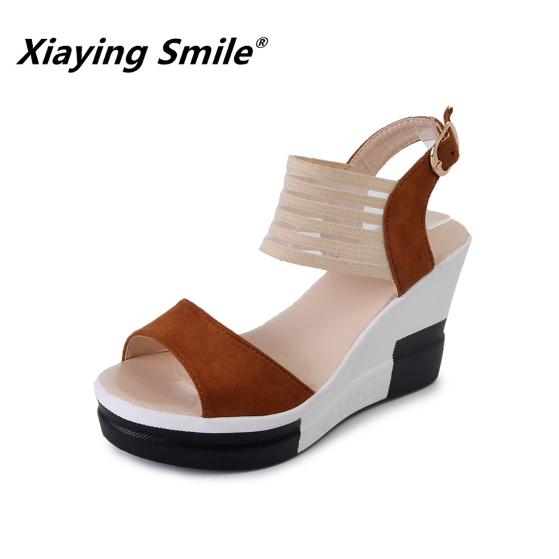 Xiaying Smile Super High Wedges Sandals Elastic band Buckle Strap Fashion Heals Soft Flock Casual Sandals Platform Women Shoes xiaying smile summer woman sandals shoes platform women pumps buckle strap wedges heels fashion casual flock rubber women shoes