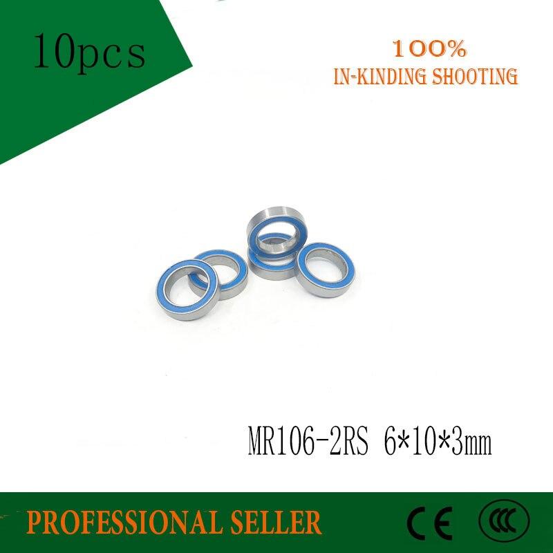10 шт. MR106-2RS MR106RS MR106 L-1060 676 ABEC3 радиальный шарикоподшипник 6x10x3 мм Миниатюрный подшипник
