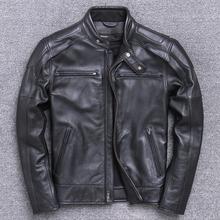 Men #8217 s Thick Cow Leather Jacket Brand Designer Genuine Leather Classic Bomber Jacket Vintage Warm Motorcycle Biker Black Coat cheap Leather Suede REGULAR Full STANDARD NONE Moto Biker Polyester Spliced Pockets 04258 Turn-down Collar zipper Solid HARLEY ANGEL