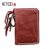 AETOO Hand Made Old New Retro Leather Men And Women Wallet Vintage