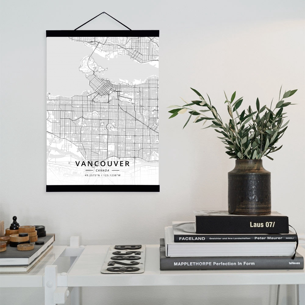 Vancouver canada city map wooden framed canvas painting home decor wall art print pictures poster hanger