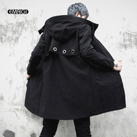 Men's Hooded Trench Coat Male High Street Hip Hop Fashion Casual Windbreaker Trench Jacket Spring Autumn Mens Long Overcoat