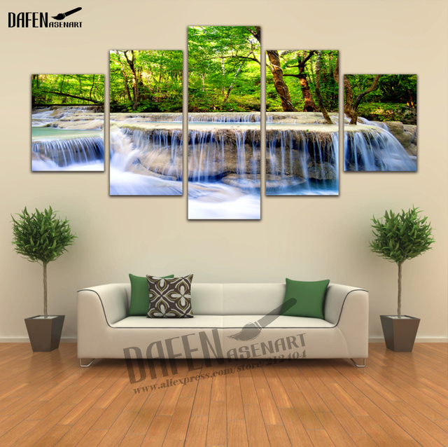5 Piece Wall Art Picture Waterfall Canvas Prints Painting Home Decor ...