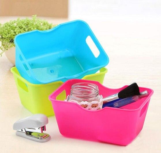 1PC Desktop Storage Box Plastic Organizer Case Rectangular Stationery Cosmetic Trinkets Tools High Quality OK 0322
