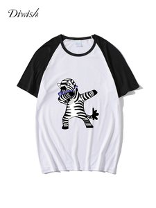 Diwish Summer Tops for Women 2019 Harajuku Aesthetics Tshirt Cartoon Zebra Print Short Sleeve Tops&Tees Casual Plus Size Women