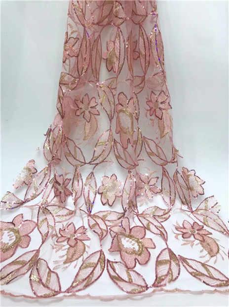 Нигерийская кружевная ткань 2019 Высококачественная африканская Тюлевая кружевная ткань с золотыми блестками французская чистая кружевная ткань для свадебного платья Новинка J6