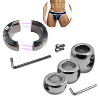 30/40/60mm Heavy Ball Stretcher Scrotal Bondage Stainless Steel Male Cock Cage Penis Ring Metal Chastity Devices Fetish Sex Toys