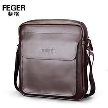 FEGER Business Men's Briefcase Large Capacity Document Bag Single Shoulder Messenger Bag Leather Men Bag 2 Size