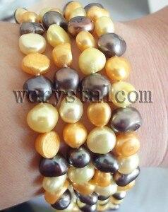 4 Row Multicolour Gold Black Cultured Pearl Bracelet