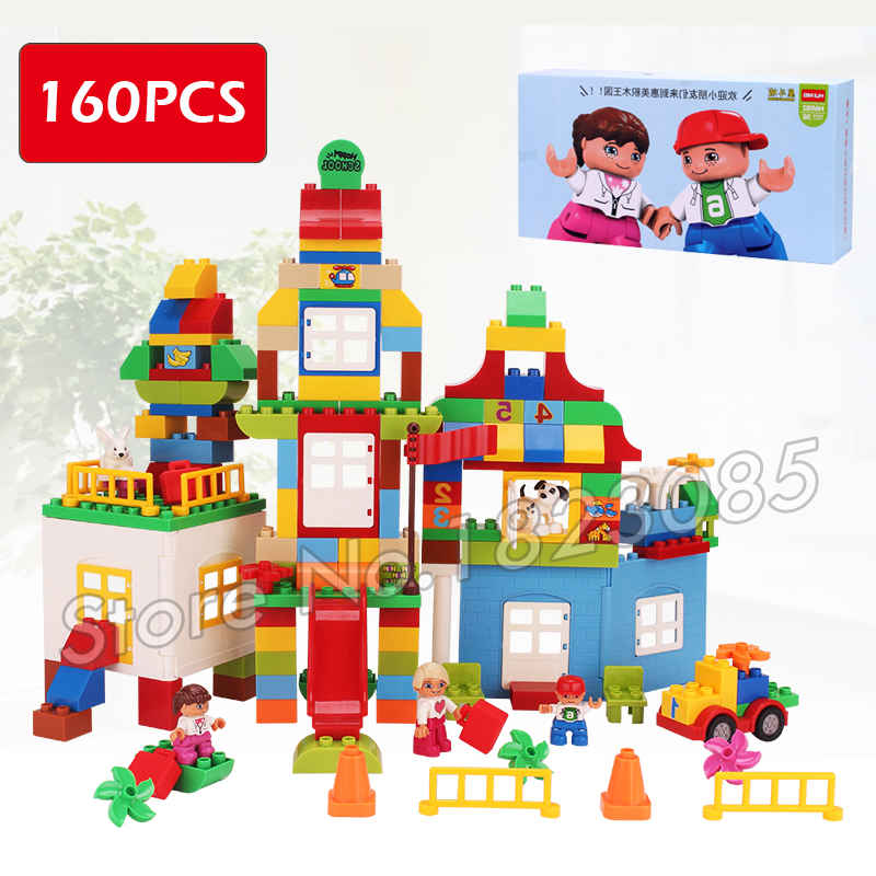 160pcs My First Deluxe Box of Fun Amusement Model Big Size Building Blocks Brick Baby Toys Compatible With Lego Duplo my first animals