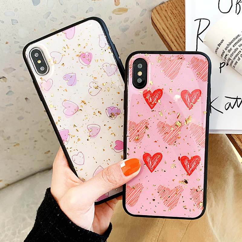 KIPX1088_4_JONSNOW Phone Case for iPhone XS XR XS Max 6S 7 8 Plus Gold Foil Love Heart Style Tempered Glass Back Cover Cases