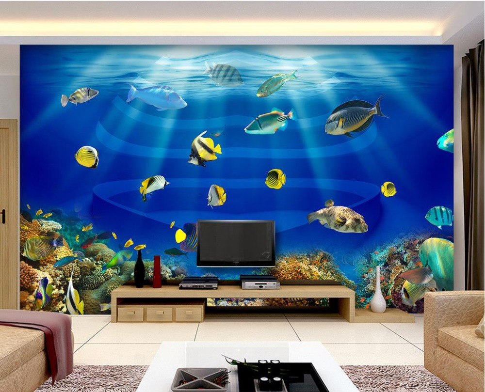Fish aquarium price in pakistan - Wallpapers For Living Room Seaworld Heart Shaped Tropical Fish Fish Tank 3d Stereoscopic Wallpaper Mural