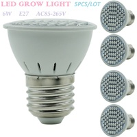 5PCS/LOT 6W 44Red/16Blue E27 AC85-265V 2835SMD LED Grow Light Lamp For Horticulture Aquarium Plants Flowering And Hydroponics