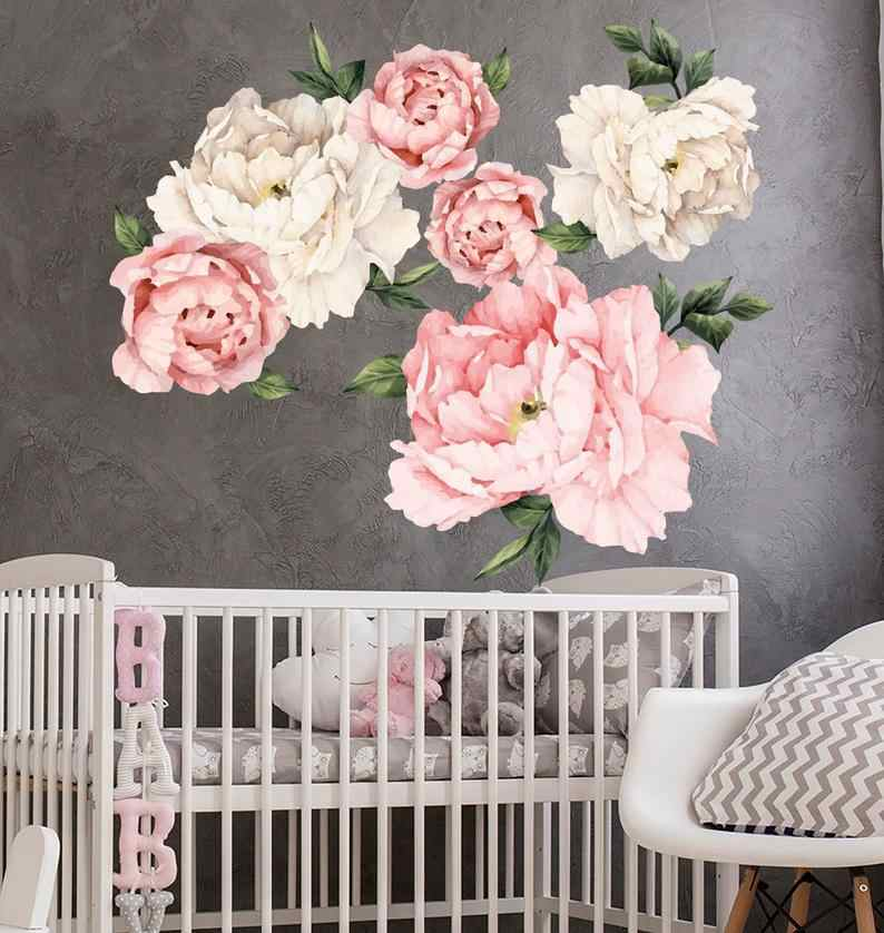 Peony Floral Decals Peony Watercolor Art Girl Nursery Peony Flower New Trendy Stickers Removable Wall Decals Wall Decor