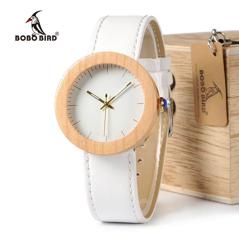 BOBO BIRD WJ28 Pine Wooden Steel Simple Dial Face Soft Leather Band Quartz Watch With Wooden Gift Box For Women relojes mujer 2017 pure face design wooden watch for