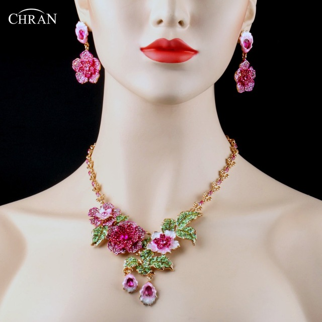 CHRAN Classic Costume Bridal Jewelry Accessories Luxury Pink Crystal Gold Plated Flower Designs Wedding Jewelry Sets For Women