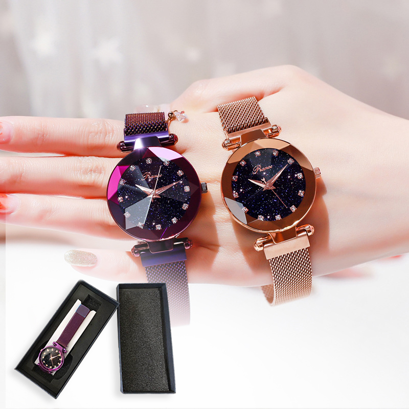 Luxury Brand Ladies Magnetic Watch Star Sky Diamond Dial Women Bracelet Watches Magnetic Stainless Steel Mesh Wristwatches Clock
