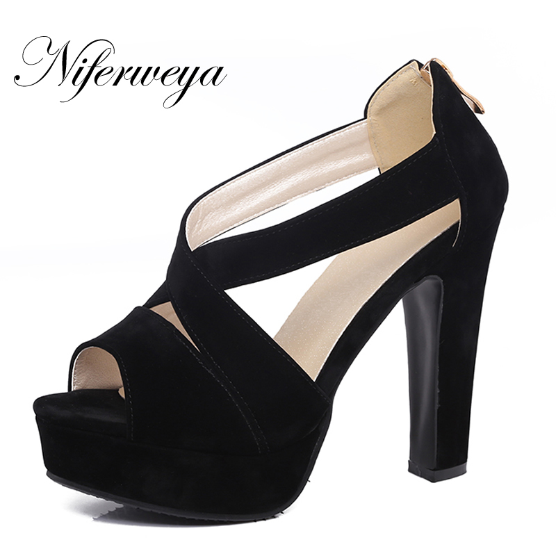 Big size 31-43 summer women shoes sexy Peep Toe thick heel Platform high heels fashion suede zipper party sandals zapatos mujer summer shoes woman sandals peep toe high heels women shoes 2017new fashion luxury rhinestone suede thick heel womens pumps heels